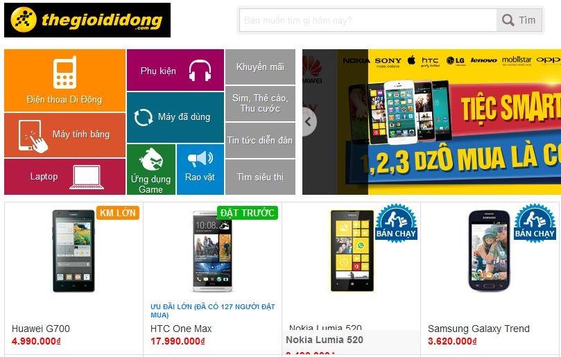 Website thương mại điện tử thegioididong