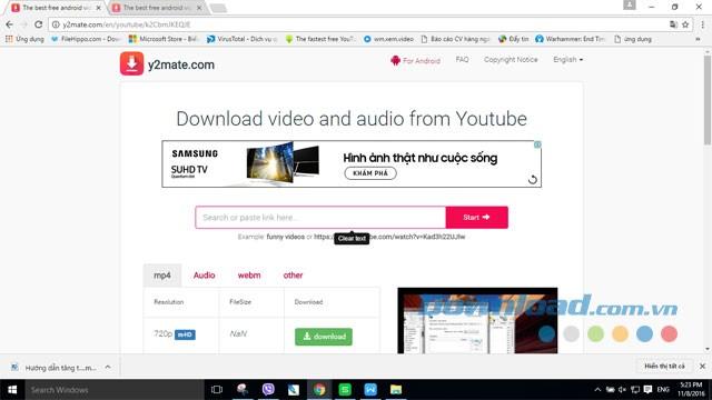 Trang web tải mp3 từ youtube Y2Mate.com